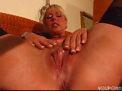 Mature blonde enjoys her own body - DBM Video