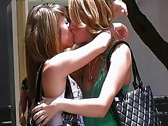 Rilee and Sara sexy lesbian teens flashing tits in a public place