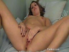 Teen Annika Rubs her Swollen Pussy