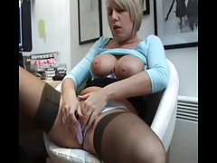 British slut Sandie Caine in solo action in stockings