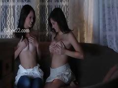 two charmingly hot brunette lesbians