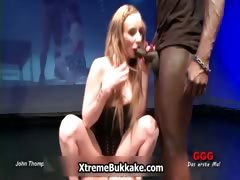 Nasty blonde slut gets her face jizzed part4