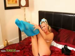 Blue nylon pantyhose and blonde tease