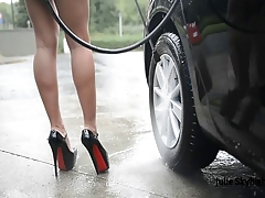 sexy carwash in secretary outfit & wet high heels & upskirt