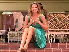 Carli teenage blonde babe poses in public