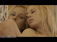 gentle blonde Carla touching pussy