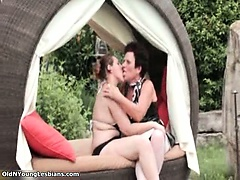 Horny mature and teen lesbians go crazy