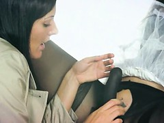 Two hungry amazing lesbians using strap