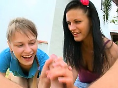 Two girlfriends Beata and Mia gagging me