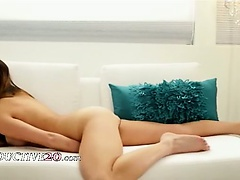 sexy masturbation on the white couch