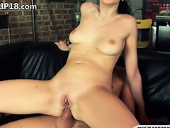 brunette givingblowjob and anal fucking