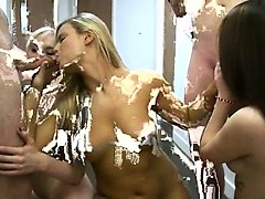 Teen sleek girls fucking in groupsex