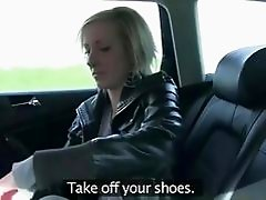 Sexy blonde amateur must pay up in taxi