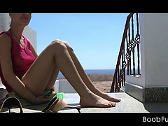 Brunette teen tramp in a holiday sex adventure