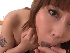 Inked asian babe fucks her lover