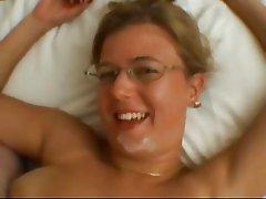 Nerdy Chubby MILF Titfucking and cumshot