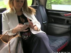 Huge tits business woman blows a perv taxi driver