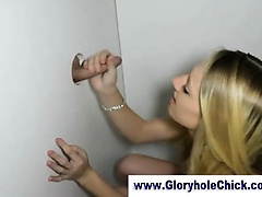 Skinny amateur sucks cock at gloryhole