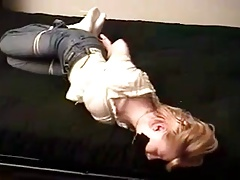 Bondage - jez tied & gagged on a futon (pt1)