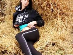 Brunette teen Gabriela toy pussy outdoors