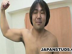 Japanese stud Yoshihisa Yada stroking his dick while