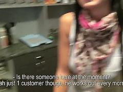 Receptionist flashes boobs and banged for money
