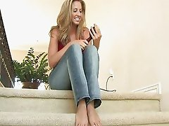 Pamela angelic blonde teen undressing and toying on the stares