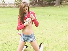 Shyla brunette teen posing naked and toying her pussy
