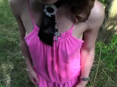 Euro brunette amateur fucks outdoor POV