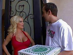 Busty blonde housewife doing a blowjob to a pizza delivery boy
