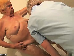 Old fat bbw granny stripped in bathroom