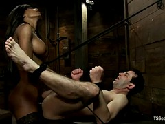 ebony tranny in lingerie gets a bj and fucks a white dude's ass