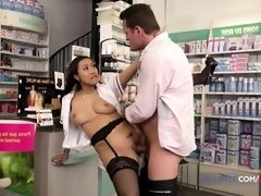 French pharmacist gets plowed in the bootie by a massive beefstick