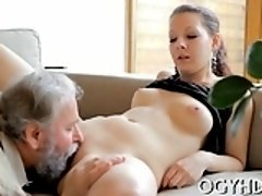 Captivating young chick gets impaled on cock of an old dude