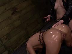 punishing bondage for busty redhead