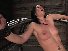 horny brunette loves being fucked by machines