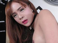 Tgirl with big tits gets her ass banged