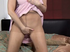 Blonde's hot solo show in pantyhose