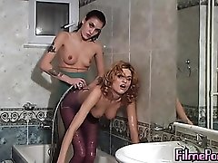 Girls shower together in their tight pantyhose