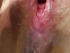 Pussy cum wife's pussy cumming hard again soaking wet