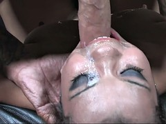 nasty whore loves being throat fucked by a fat piston