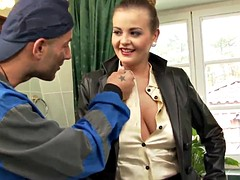 Glamcore busty babe takes two fat cocks