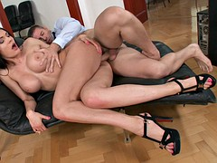 Charming brunette with big tits loves ass to mouth play