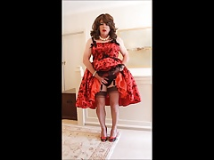 Sindy plays with herself in a boufant dress