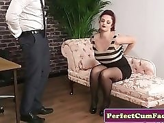 Busty redhead babe cocksucking her therapist