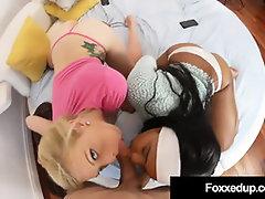 Super-Fucking-Hot Ebony Hotty Jenna Fox  Skylar Madison Share A Wood!