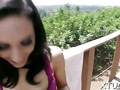 Pungent brunette girlie Tia Cyrus enjoys undressing