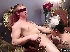Busty bride shemale anal fucks her lover