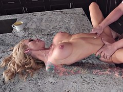 busty milf sarah jessie getting pussy drilled in the kitchen
