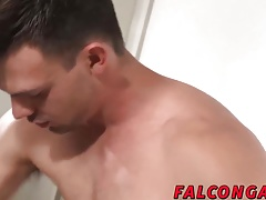 Deep blowjob affair in the toilet with two cock lovers
